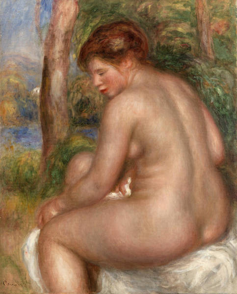 Wall Art - Painting - Bather In Three-quarter View by Pierre-Auguste Renoir