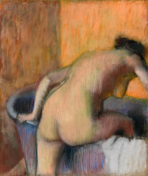 Bather Drawing - Bather Stepping Into A Tub by Edgar Degas