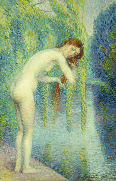 Weeping Willow Wall Art - Painting - Bather Washing Her Hair by Hippolyte Petitjean