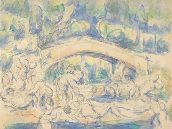 Drawing - Bathers By A Bridge by Paul Cezanne