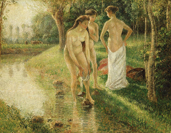 Wall Art - Painting - Bathers by Camille Pissarro