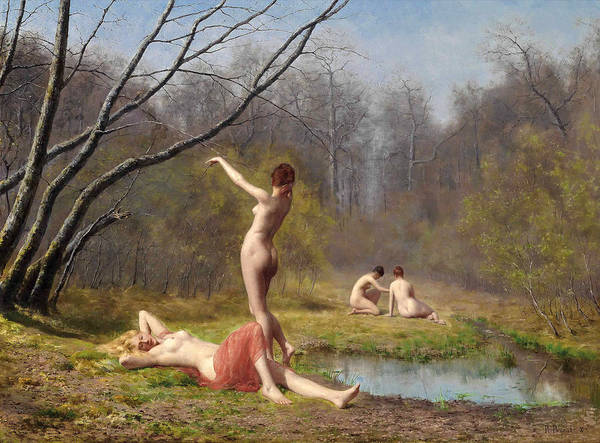 Wall Art - Painting - Bathers In The Forest by Rene Peyrol