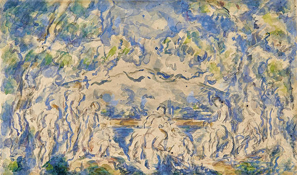 Bather Drawing - Bathers. Mont Sainte-victoire In The Background by Paul Cezanne