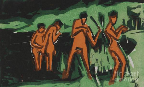Wall Art - Painting - Bathers Tossing Reeds by Ernst Ludwig Kirchner