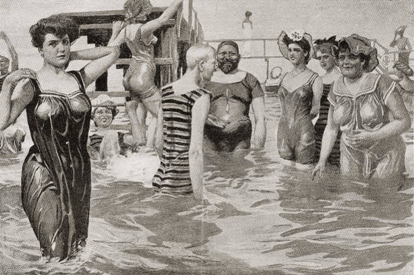 Bather Drawing - Bathing Acquaintances In The 19th by Vintage Design Pics