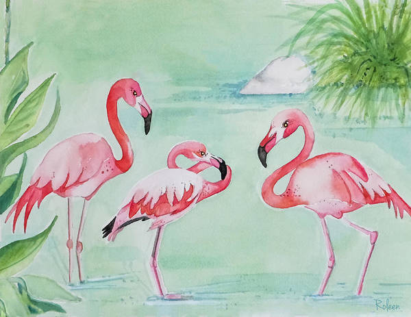 Flamingos Wall Art - Painting - Bathing Beauties by Roleen Senic