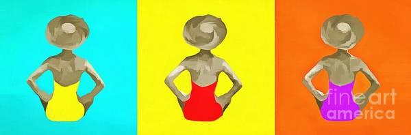 Bathing Suit Wall Art - Painting - Bathing Beauties Trio Pop Art by Edward Fielding