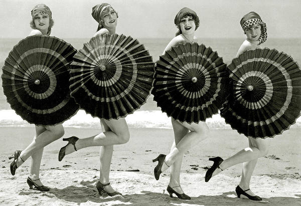 Burlesque Dancer Photograph - Bathing Beauties With Parasols by American School