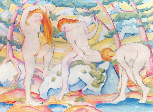 The Blue Rider Wall Art - Painting - Bathing Girls by Franz Marc