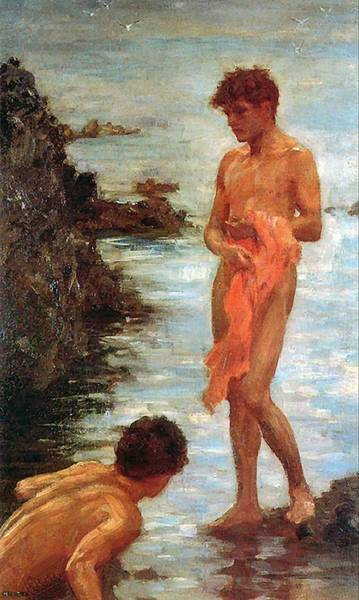 Painting - Bathing Group Of 1913 by Henry Scott Tuke
