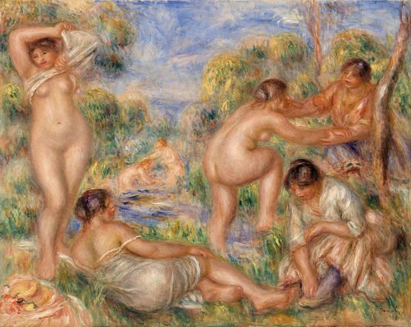 Wall Art - Painting - Bathing Group by Pierre-Auguste Renoir