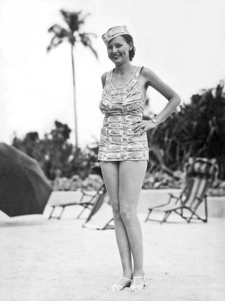 Wall Art - Photograph - Bathing Suit Made Of Currency by Underwood Archives
