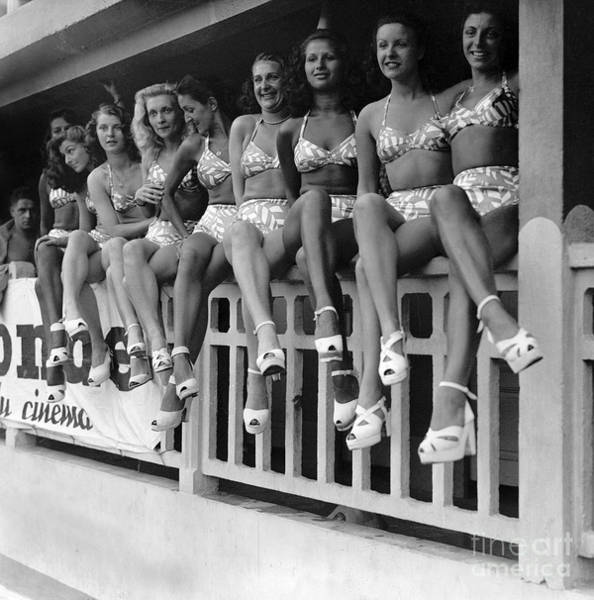 Wall Art - Photograph - Bathing Suits Presented At Molitor Swimming Pool In Paris 1938 by French School