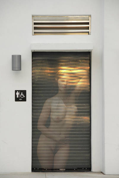 Photograph - Bathroom Door Nude by Harry Spitz