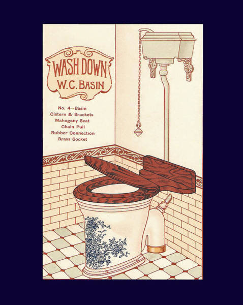 Mixed Media - Bathroom Picture Blue Toilet Two by Eric Kempson