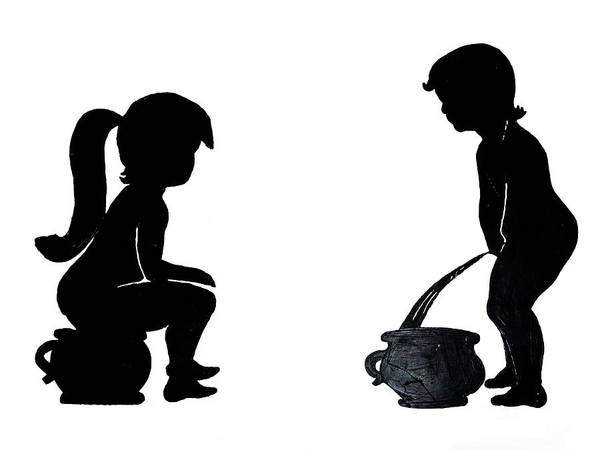 Young Boy Photograph - Bathroom Silhouettes by Sally Weigand