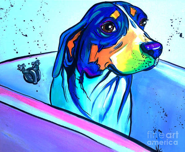 India Ink Wall Art - Painting - Bathtub Beagle by Abbi Kay