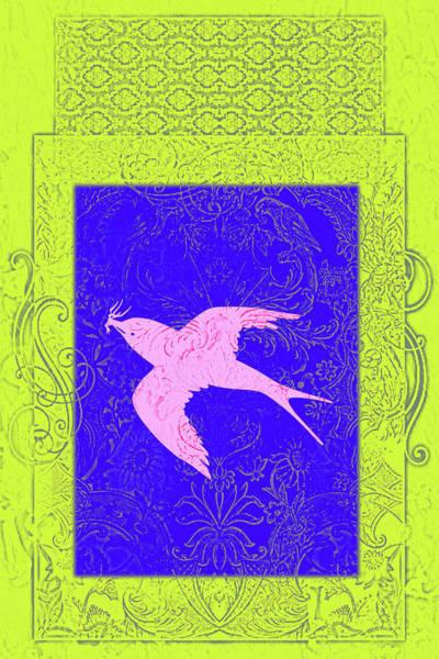 Lime Mixed Media - Batik Birds 6 by Priscilla Huber