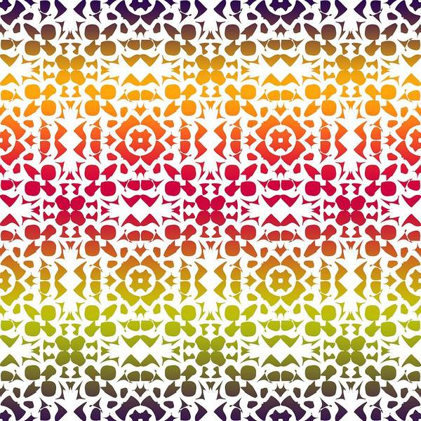 Digital Art - Batik Rustic Rainbow 200 - White by Ruth Moratz