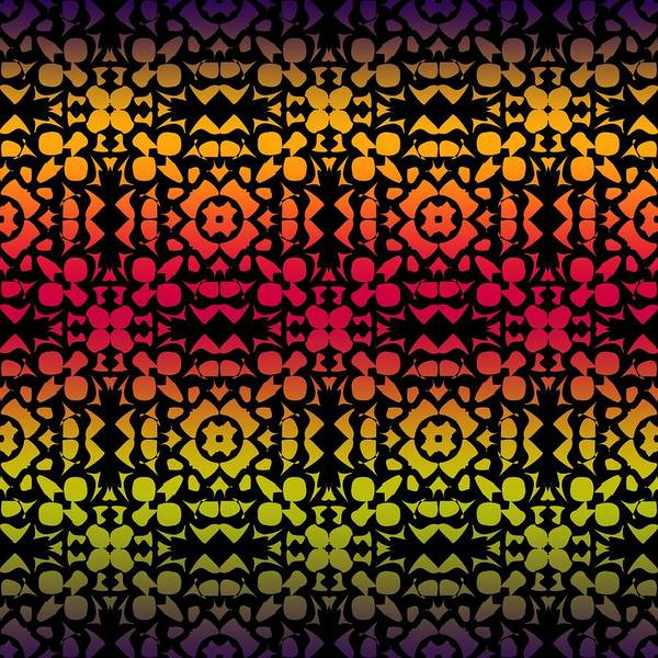 Digital Art - Batik Rustic Rainbow 200 - Black by Ruth Moratz