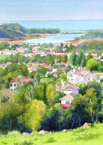 California Landscape Painting - Batiquitos View by Mary Helmreich
