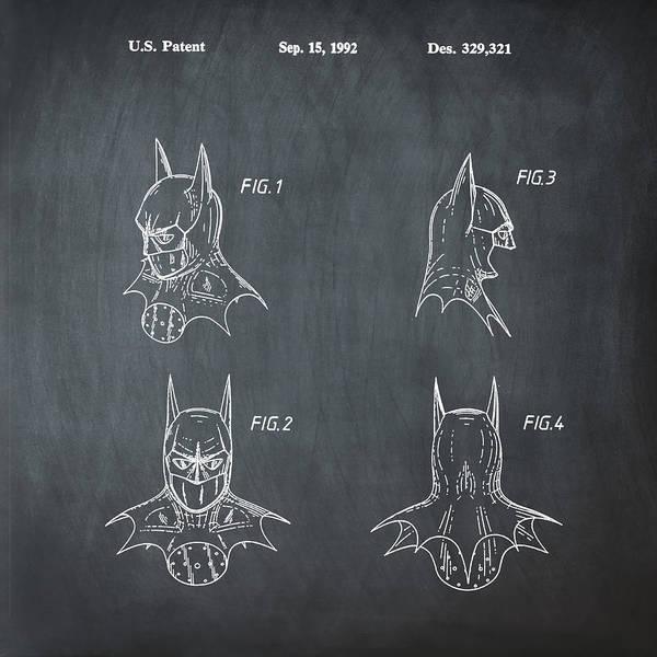 Wall Art - Photograph - Batman Cowl Patent by Bill Cannon