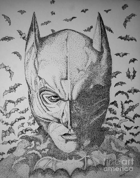 Drawing - Batman Flight by Tamyra Crossley