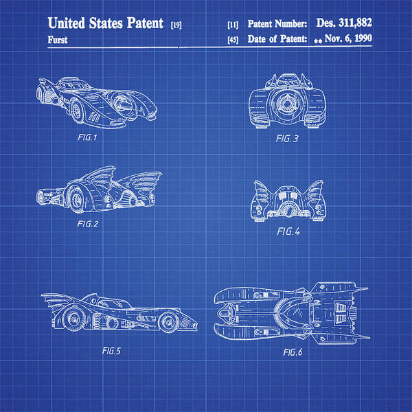Wall Art - Photograph - Batmobile 1990 Patent In Blueprint by Bill Cannon