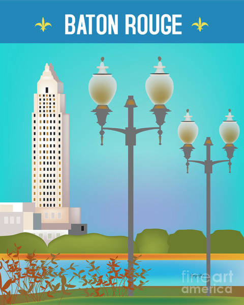 Baton Rouge Digital Art - Baton Rouge, Louisiana, Vertical Skyline by Karen Young