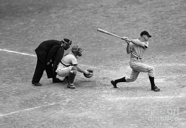Photograph - Batter Swings Strike At Home Plate by H. Armstrong Roberts/ClassicStock