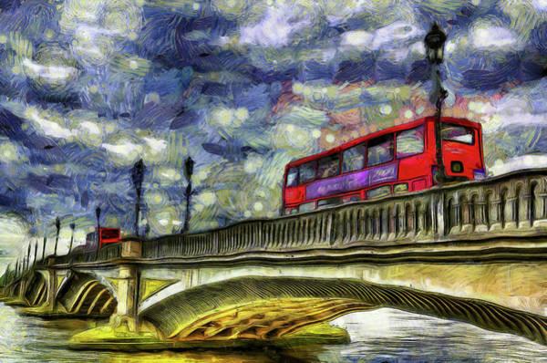 Wall Art - Mixed Media - Battersea Bridge London Van Gogh by David Pyatt