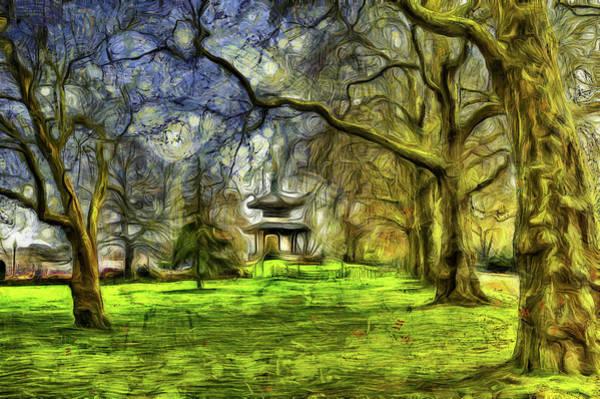 Wall Art - Mixed Media - Battersea Park Pagoda Art by David Pyatt