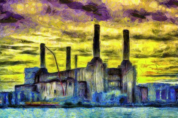 Wall Art - Mixed Media - Battersea Power Station Sunset Art by David Pyatt