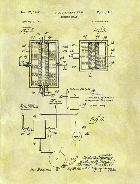 Battery D Wall Art - Mixed Media - Battery Cell Patent by Dan Sproul