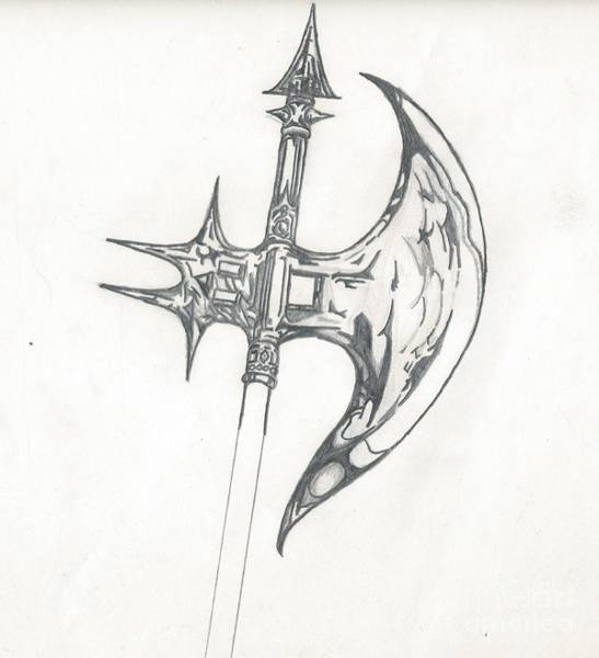 Drawing - Battle Axe by Reed Novotny