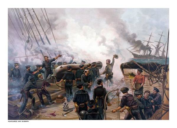 Wall Art - Painting - Battle Between Kearsarge And Alabama by War Is Hell Store