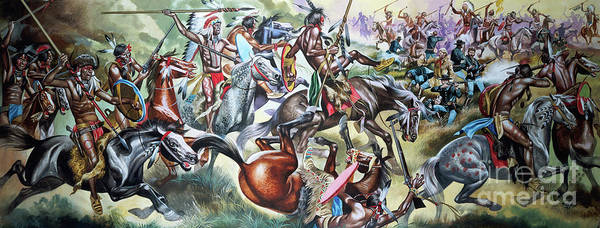 Struggle Painting - Battle Between Native American Indians And Soldiers by Ron Embleton