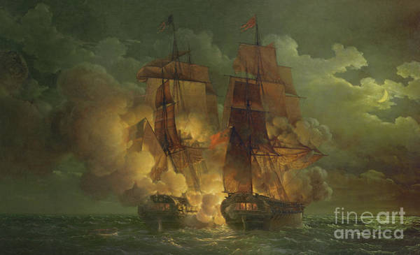 Galleons Wall Art - Painting - Battle Between The Arethuse And The Amelia by Louis Philippe Crepin