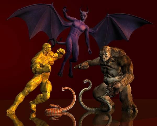 Digital Art - Battle Of Good Vs Evil by Carlos Diaz