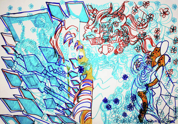 Wall Art - Painting - Battle For Heaven Ggulu Summons Kaikuzzi To Defeat Walumbe by Gloria Ssali