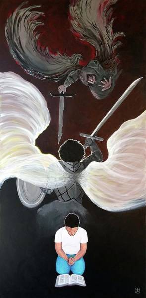 Spiritual Warfare Painting - Battle In Prayer by Marilyn Hilliard