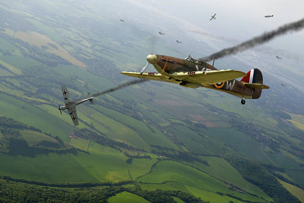 Photograph - Battle Of Britain Dogfight by Gary Eason