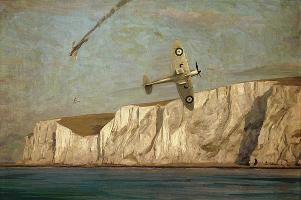 Digital Art - Battle Of Britain Over Dover by Nop Briex