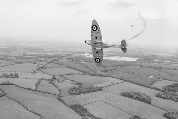 Photograph - Battle Of Britain Spitfire Black And White Version by Gary Eason