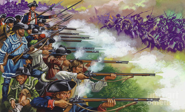 Volley Painting - Battle Of Bunker Hill by Ron Embleton