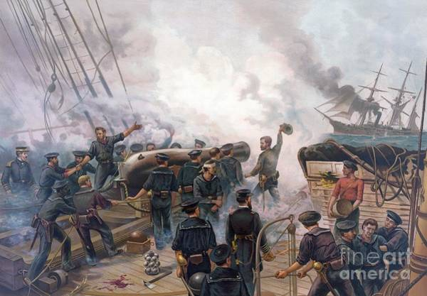 State Of Alabama Painting - Battle Of Cherbourg by Julian Oliver Davidson