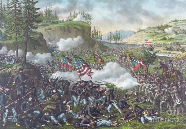 Wounded Soldier Painting - Battle Of Chickamauga by American School