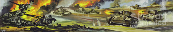 Wall Art - Painting - Battle Of El Alamein During World War Two by Ron Embleton