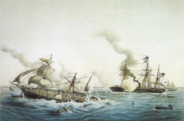 Uss Alabama Painting - Battle Of Kearsarge And The Alabama - Civil War Painting by War Is Hell Store
