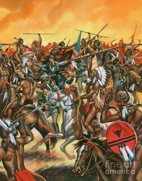 Wall Art - Painting - Battle Of Little Bighorn by Ron Embleton